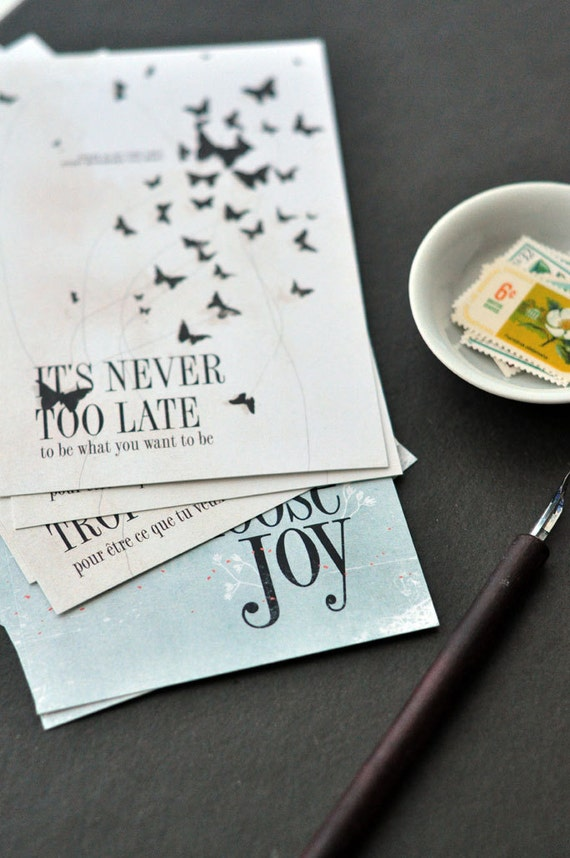 Set of 10 Postcards - 5 x Choose Joy & 5 x It's Never Too Late