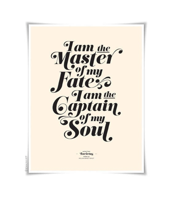 INVICTUS on cream - typography art print - 8.5 x 11 in French or English - vintage collection