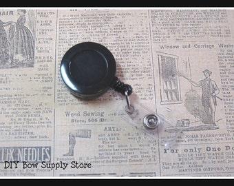 10 Black ID Badge Reels / Retractable Cord / Belt Clip