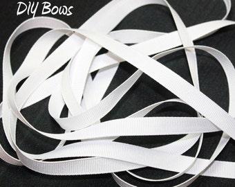 3/8 Solid White Grosgrain Ribbon - 5 Yards