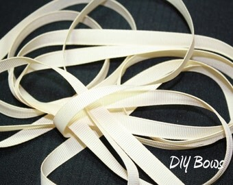 3/8 Solid Ivory Grosgrain Ribbon - 5 Yards