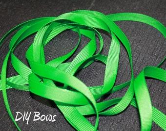 3/8 Solid Emerald Green Grosgrain Ribbon - 5 Yards