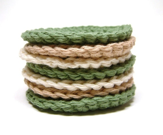 7 Handmade Crochet Cotton Face Scrubbies in Tan, Natural and Sage Green