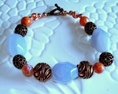 Faceted Blue Lace Agate and Fire Agate Gemstone Beaded Bracelet