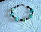 Handmade Lampwork Green Glass Art Beaded Bracelet