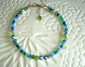 Matte Green Blue Aqua Crystal and Pearl Beaded Anklet