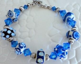 Designer Lampwork Art Glass Crystal Beaded Bracelet