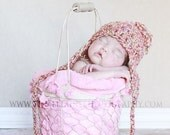 Baby Girl Earflap Hat Long Ties for Crochet Newborn  Photo Props