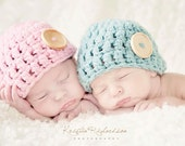 Baby Button Hat for Twins  Crochet Newborn Photo Prop