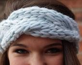 Hand Knit Cable Braided Headband - Sky Blue - Fall  Fashion Winter Fashion Autumn Fashion Back to School