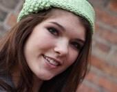 Hand Knit Keep Yo Ears Warm  Headband Earwarmer - Apple Green  - Fall Fashion Autumn Fashion Winter Fashion