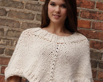 Womens Hand Knit Cropped Poncho - Cream
