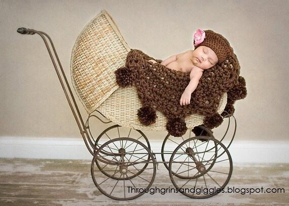 Chocolate Brown Pom Pom Blanket  Photographer Prop