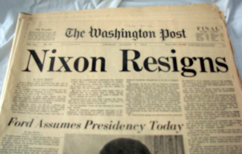Nixon Resigns Headline Newspaper August 9 1974 The Washington