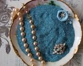 Vintage German Glass Glitter Blue Tourmaline Coarse