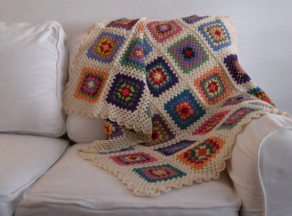 MADE TO ORDER Handmade Crochet 100 % Cotton Baby Children nursery blanket  / afghan granny squares 34 by 46 inch