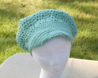 SALE- Woman's Mint Green Cloche Hat with visor