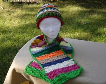 SALE- Adult Multi-colored Hat and Scarf