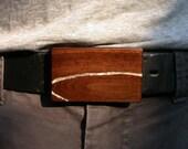 Walnut Belt Buckle with Sliver Leaf