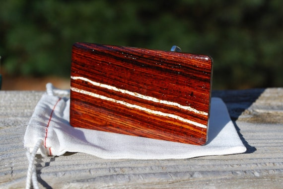 Cocobolo Rosewood Belt Buckle with Silver Leaf