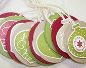 Christmas Ornament holiday gift tags or labels - Set of 12