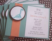 Dinosaur Invitations, Dinosaur Birthday Invitations, Prehistoric Birthday - Set of 8