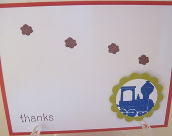 Train thank you cards, train stationery, train notecards, transportation thank you cards - set of 8
