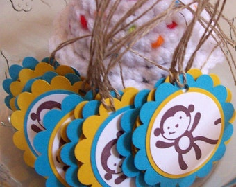 Monkey Favor Tags, Mod Monkey Favor Tags, Monkey Labels - Set of 10
