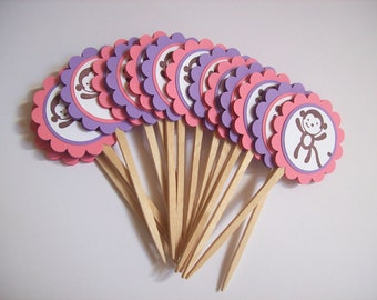 Monkey Birthday or Baby Shower Cupcake Toppers - Set of 12