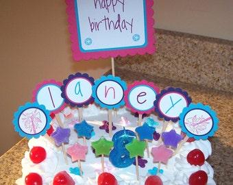 Rockstar cupcake toppers, rockstar birthday, Girl party, guitar cupcake toppers, music party - set of 12