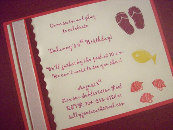 Pool party invitations, beach party invitations, summer party invitations - set of 8