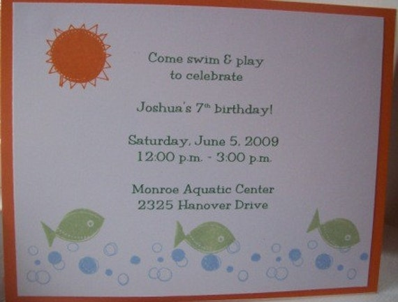pool party birthday invitations - Set of 8