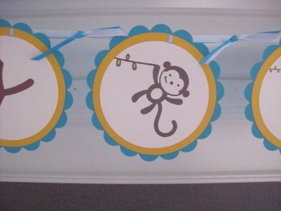 Monkey Birthday or Baby Shower Banner