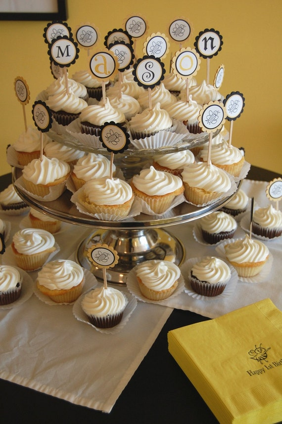 Bee Birthday or Baby Shower Cupcake Toppers - Set of 12