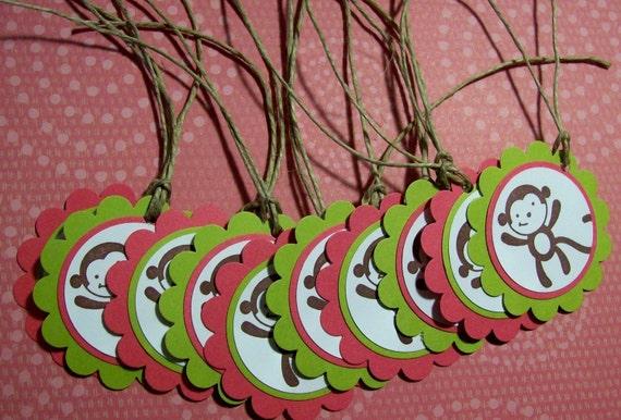 Monkey favor tags, mod monkey favor tags, jungle animal favor tags, monkey gift labels - Set of 10