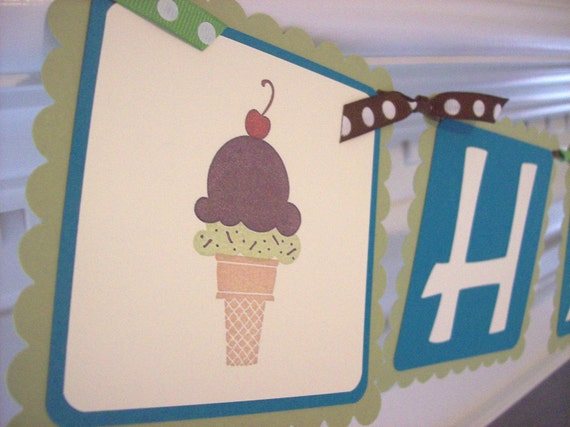 Ice Cream Cone Banner, Ice Cream Social Banner, Cupcake Banner, Sweets Banner