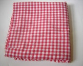 Vintage Red and White Cotton Gingham Fabric 34W - 1YPlus - Have a Summer Picnic