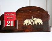 Perpetual Calendar With Elephants Antique Exotic Wood Wooden Vintage Sale was 48.00