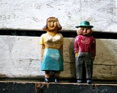 Vintage Antique Wooden Hand Carved and Painted Sculptures - Mr. and Mrs. Farmer - Folk Art Wood
