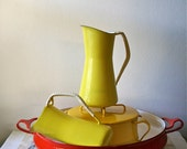 Dansk Kobenstyle Pitcher Denmark Cookware Yellow - Vintage IHQ Enameled Quistgaard - 8 inches