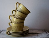 Fris Edam Holland Midcentury Cups and Saucers X4 Vintage Dutch Modern