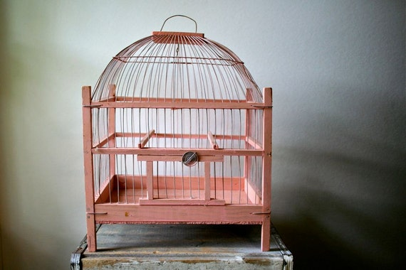 SALE was 75.00 - Antique Folk Art Bird Cage - Hand Made Wood and Wire - Pink