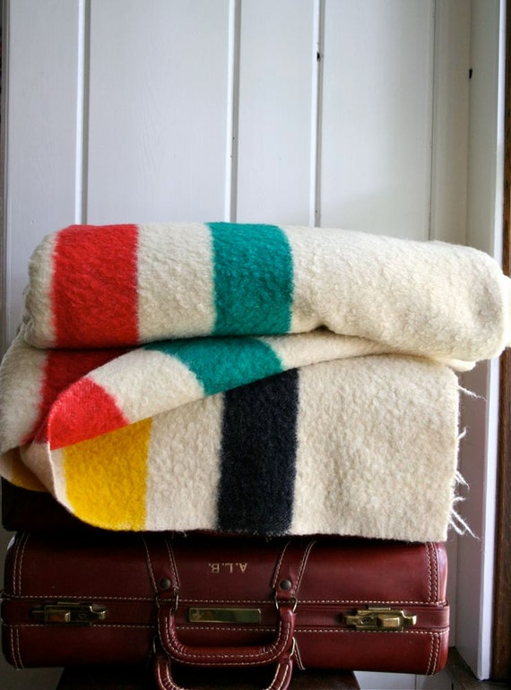 Vintage Hudson Bay 4 Point Wool Blanket Midcentury Camp