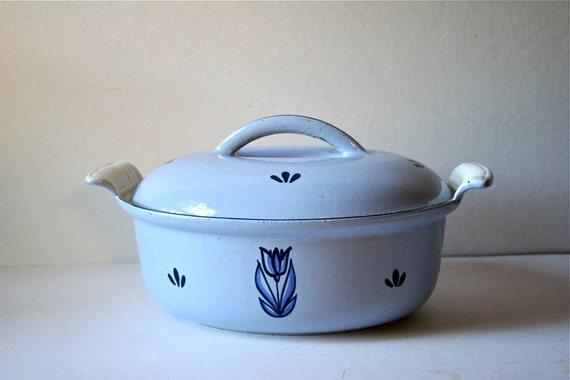 Vintage Dru Holland Dutch Oven Pan Baby Blue Lecreuset