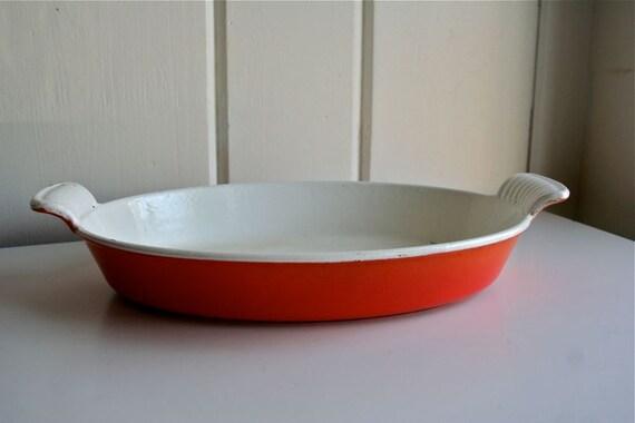 vintage cousances au gratin pan lecreuset le creuset orange. Black Bedroom Furniture Sets. Home Design Ideas
