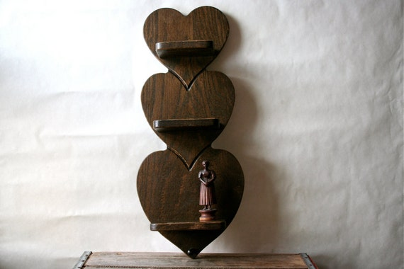 Vintage Wooden Heart Shelf 1970s Rustic Hearts