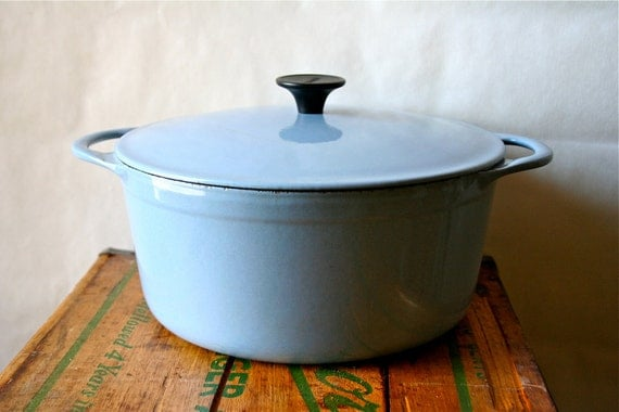 Vintage Cousances Dutch Oven Pan LeCreuset Le Creuset France 1950s Blue SALE was 100