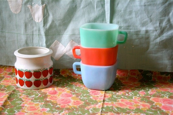 Glasbake Lipton Tea Square Mugs 3 Colorful Vintage