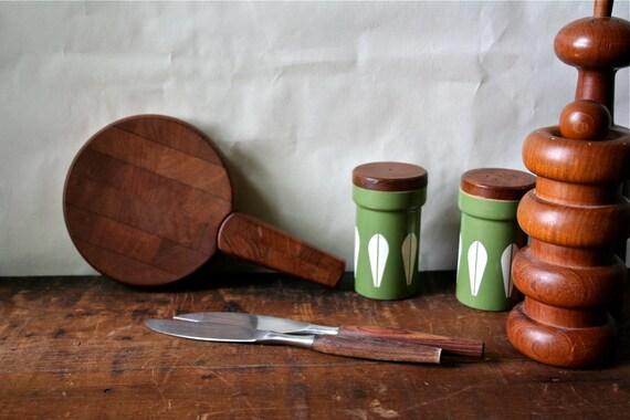 Vintage Dansk Designs IHQ Teak Wood Cutting Board Knife Quistgaard Denmark