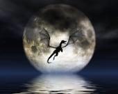 Dragon Moon Large 16x20 Print by Fantasy Artist Julie Fain